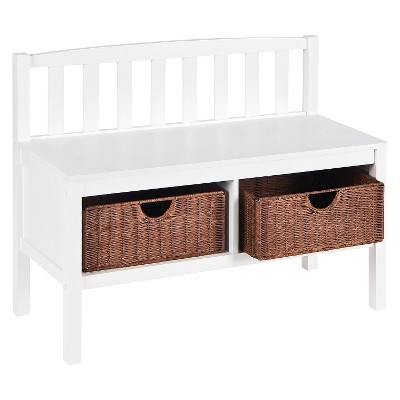 White Bench with Brown Rattan Baskets - Aiden Lane