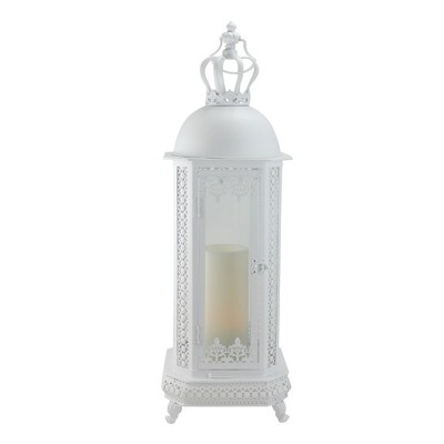 "Allstate Floral 30"" Antique White Crown Top Floral Glass Candle Lantern"