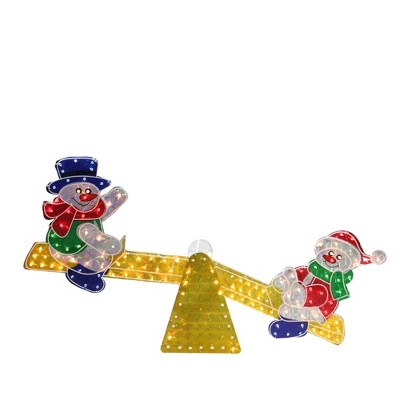"Northlight 48"" Yellow and Red Pre-Lit Holographic Snowmen on See Saw Outdoor Christmas Decor"