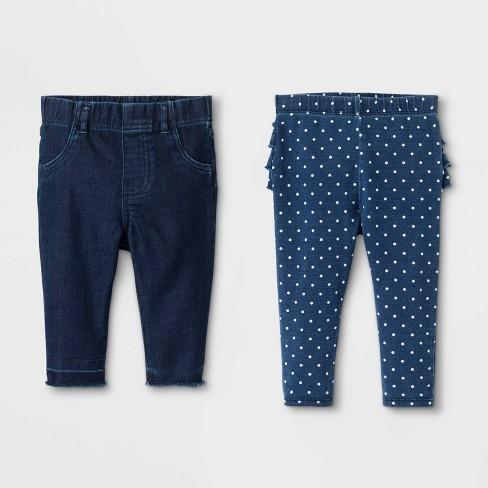 Baby Girls' 2pk Jeans - Cat & Jack™ Blue - image 1 of 2