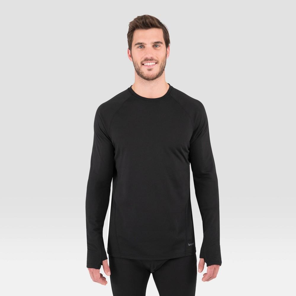 Image of Men's Terramar Long Sleeve 3.0 Thermal Crewneck T-Shirt - Black XL