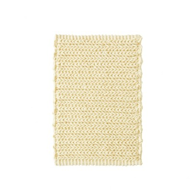 Braide Cotton Chenille Chain Stitch Bath Rug Yellow