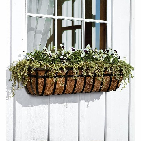 English Hay Basket Window Planter With Coco Liner Brackets Plow
