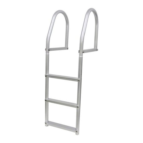 Extreme Max 3005.4102 Weld Free Fixed Dock Permanent Pool Entry 3 Step Ladder for Above Ground or In Ground Swimming Pools, Silver - image 1 of 4