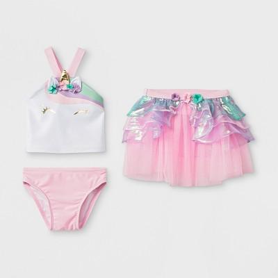 Baby Girls' 3pc Unicorn Tankini Set - Cat & Jack™ Pink 12M
