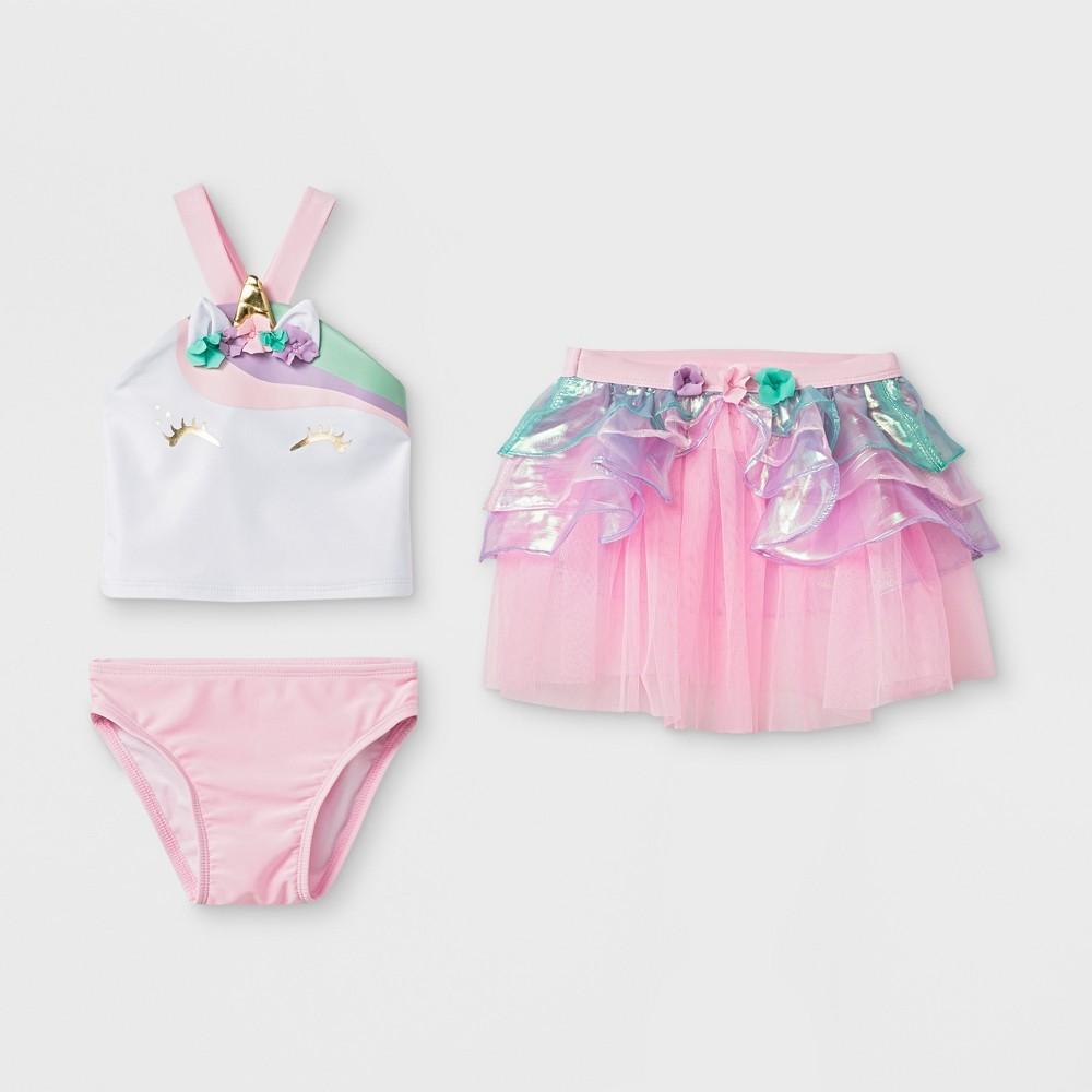 Baby Girls' 3pc Unicorn Tankini Set - Cat & Jack Pink 12M