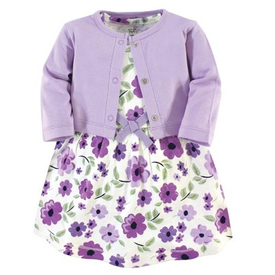 Touched by Nature Baby and Toddler Girl Organic Cotton Dress and Cardigan 2pc Set, Purple Garden