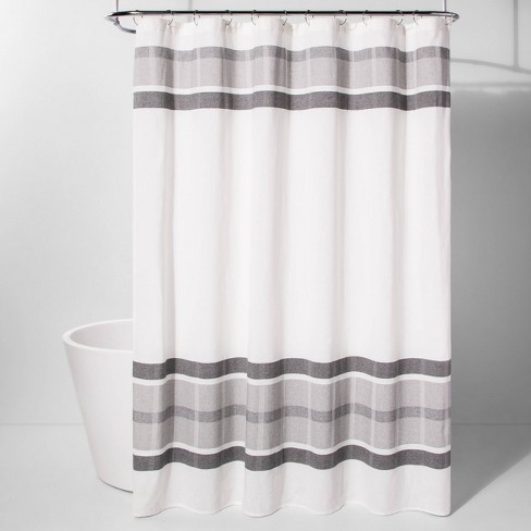 Engineered Plaid Shower Curtain White - Project 62™ - image 1 of 2