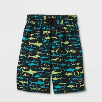 Speedo Boys' Shark Print Swim Trunks - Black