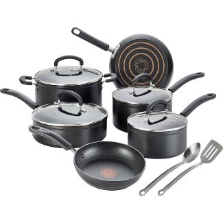 T-fal Expert Forged Nonstick Cookware, 12pc Set, Black