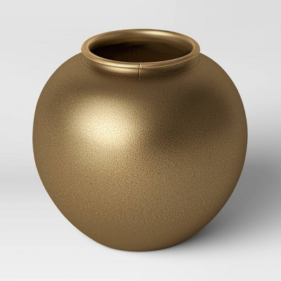 Decorative Round Metal Vase Brass - Threshold™