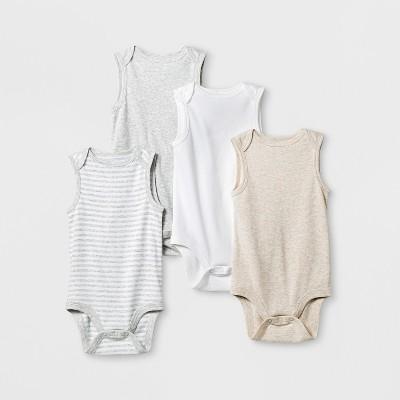 Baby 4pk Short Sleeve Bodysuit Gray/White NB - Cloud Island™