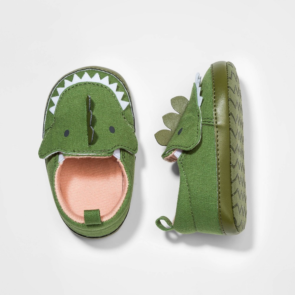 Image of Baby Boys' Dino Crib Shoes - Cat & Jack Green 0-3M, Toddler Boy's