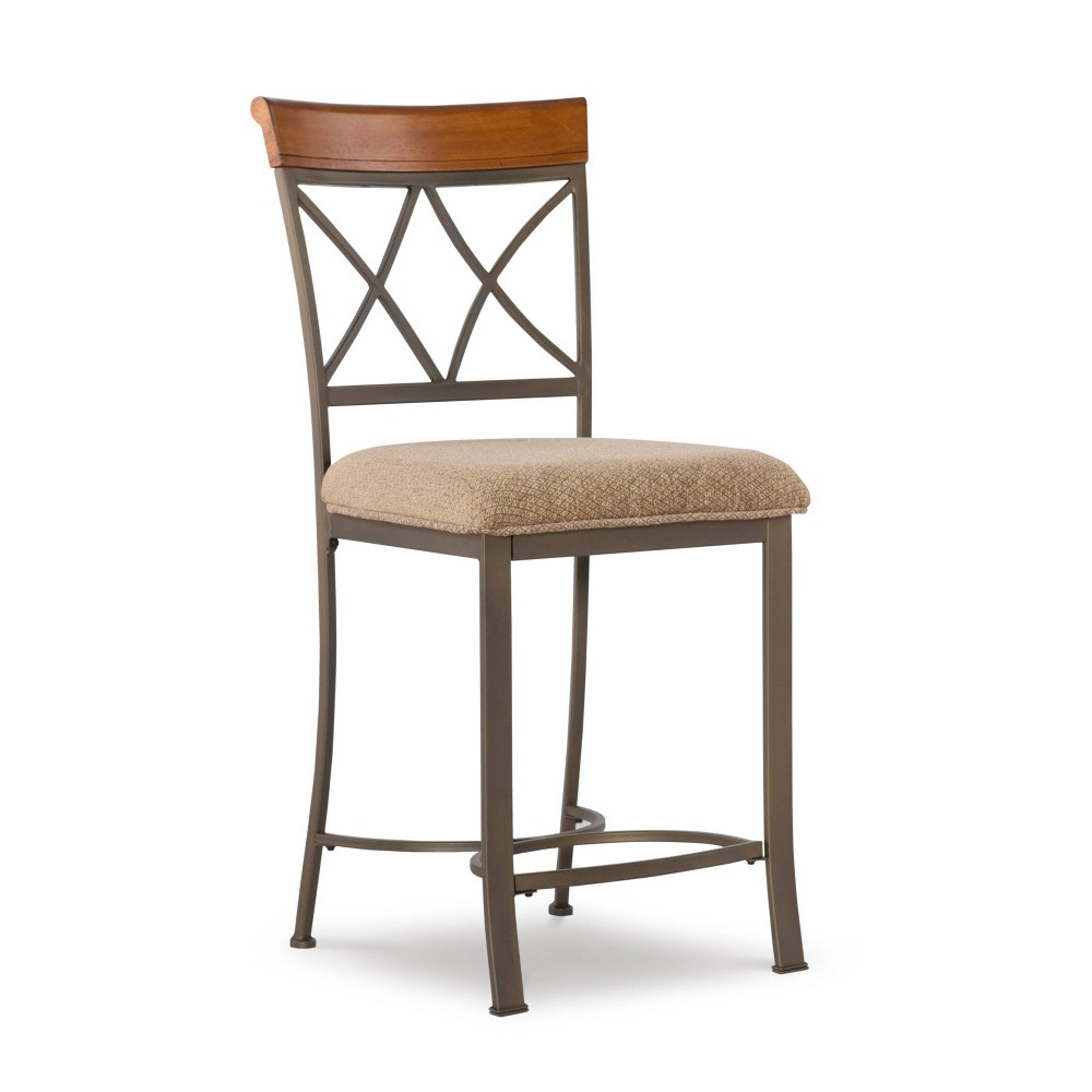 24 Carter Counter Height Barstool Metal/Tan/Cherry - Powell Company Best
