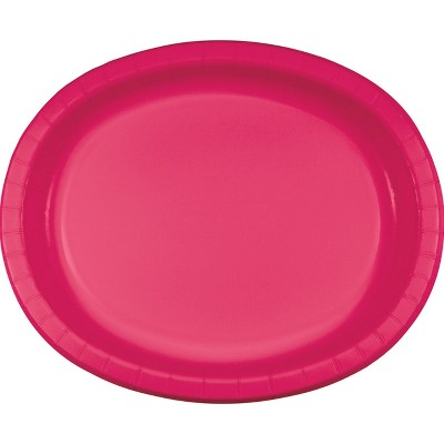 24ct Hot Magenta Pink Oval Plates Pink