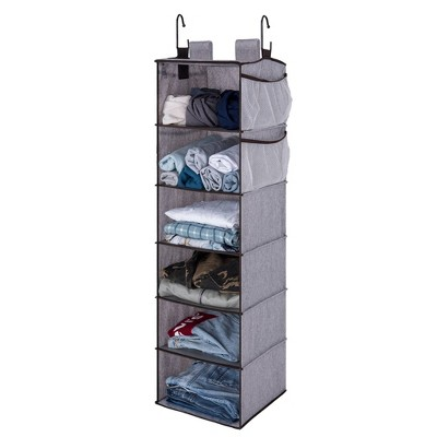 StorageWorks 6-Shelf Polyester Hanging Closet Organizer with Side Pockets Gray