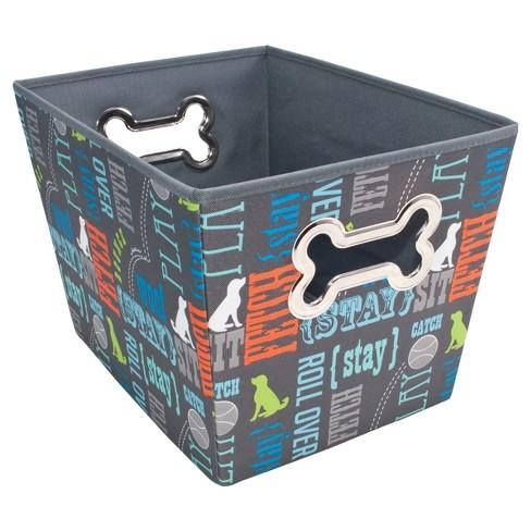 Paw Prints Bone Design Fabric Toy Bin Pet Apparel Storage - image 1 of 4