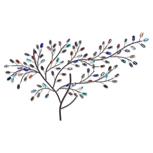 Breeze Metal/Glass Tree Wall Sculpture - Black with Multi-Toned Stones - Aiden Lane - image 1 of 5