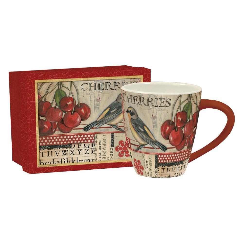 Image of Lang Ceramic Cherries Café Mug 17 oz, Multi-Colored