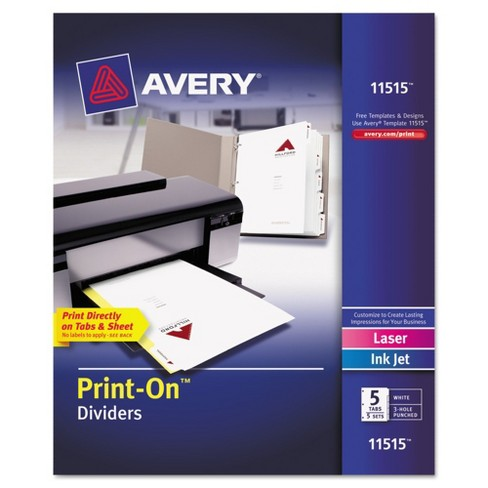 Avery® 8-1/2 x 11 Print-On Dividers, 5-Tab, 3-Hole Punched- White (5 Sets pk) - image 1 of 3