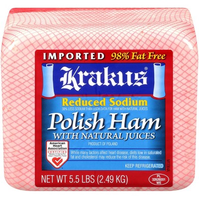 Krakus Reduced Sodium Polished Ham with Natural Juices - Deli Fresh Sliced - price per lb