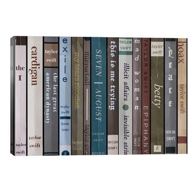 Taylor Swift Folklore As Books by Jordan Bolton Unframed Wall Canvas - iCanvas