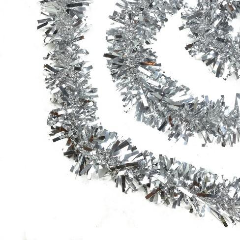 Northlight 50 X 4 Unlit Shiny Silver Wide Cut Tinsel Christmas Garland