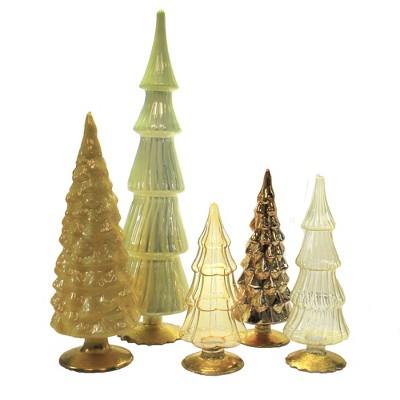 "Christmas 17.0"" Yellow Orange Hued Glass Trees Set/5 Decorate Mantle Christmas  -  Decorative Figurines"