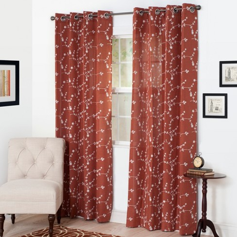 "Yorkshire Home Inas Embroidered Curtain Panel - 95"" - Rust - image 1 of 4"