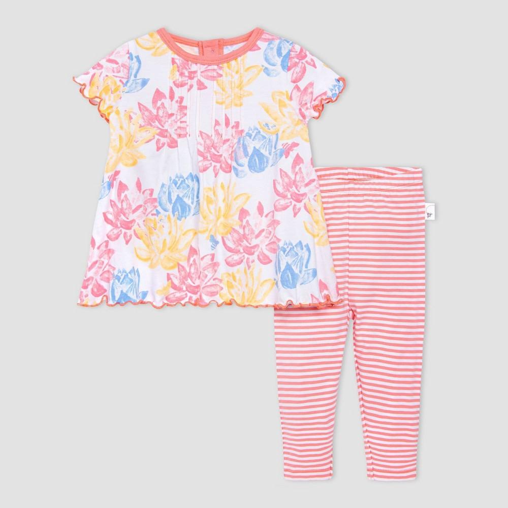 Burt 39 S Bees Baby 174 Baby Girls 39 Lotus Pond Tunic And Leggings Set Pink Blue 0 3m