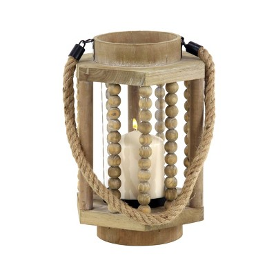 "11"" x 8"" Rustic Wood/Glass Candle Holder with Rope Handle Beige - Olivia & May"
