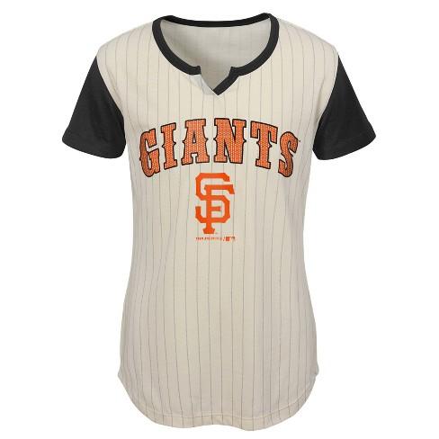 2296eb4e MLB San Francisco Giants Girls' In the Game Cream Pinstripe T-Shirt