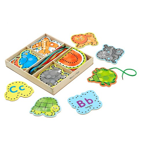 Melissa & Doug Alphabet Wooden Lacing Cards With Double-Sided Panels and Matching Laces - image 1 of 3
