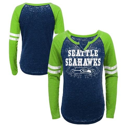 Nfl Seattle Seahawks Girls Fashion Team Alt Color Burnout Long