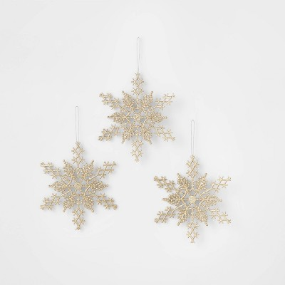 3ct Glitter Snowflake Christmas Ornament Set Gold Wondershop Target
