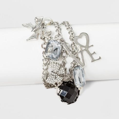 "N by nOir Love Silver Multi Row Charm Bracelet 7.5"" - Light Silver - image 1 of 1"