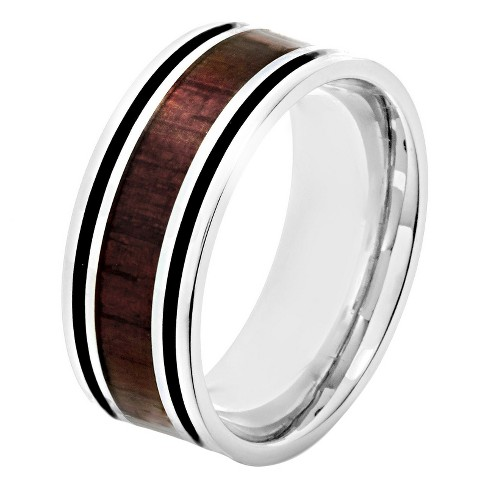 Men's Crucible Stainless Steel Wood Inlay and Black Enamel Stripe Ring - image 1 of 3