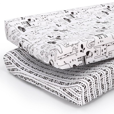 The Peanut Shell Changing Pad Cover - Black and White Animal/Tribal Stripe 2pk