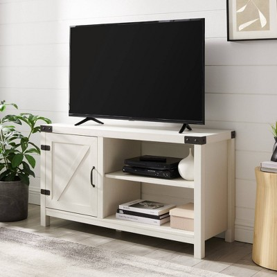 """Clarabelle Rustic Farmhouse Barn Door TV Stand for TVs up to 50"""" Brushed White - Saracina Home"""
