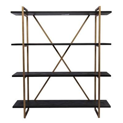 "58.25"" Dogafte Reclaimed Wood Bookcase Black - Aiden Lane"