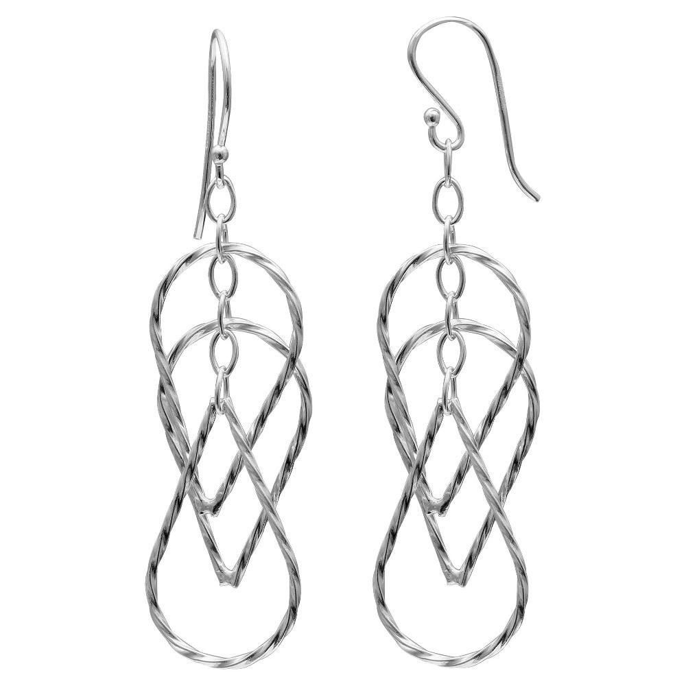 Women's Sterling Silver Oval Teardrop Earrings (26mm)