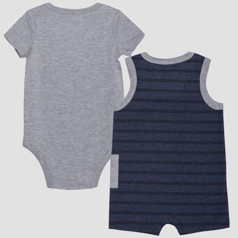 e8fee027ba95 Baby Boys  Peanuts Snoopy 2pk Sleeveless Romper And Short Sleeve Bodysuit -  Blue Gray 12M   Target