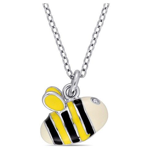 "Children's Enameled Bee Pendant Necklace with .04 CT. T.W. Created Crystal in Sterling Silver - (14"") - image 1 of 2"