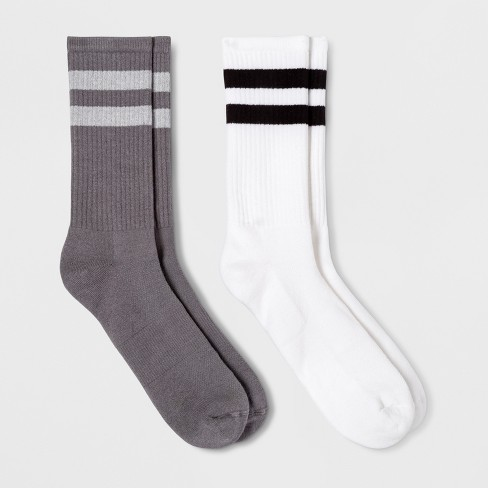 Men's Striped 2pk Athletic Crew Socks - Goodfellow & Co™ White 6-12 - image 1 of 1