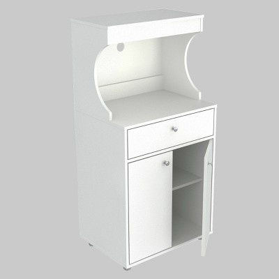 2 Doors Kitchen/Microwave Storage Cabinet with Casters White - Inval