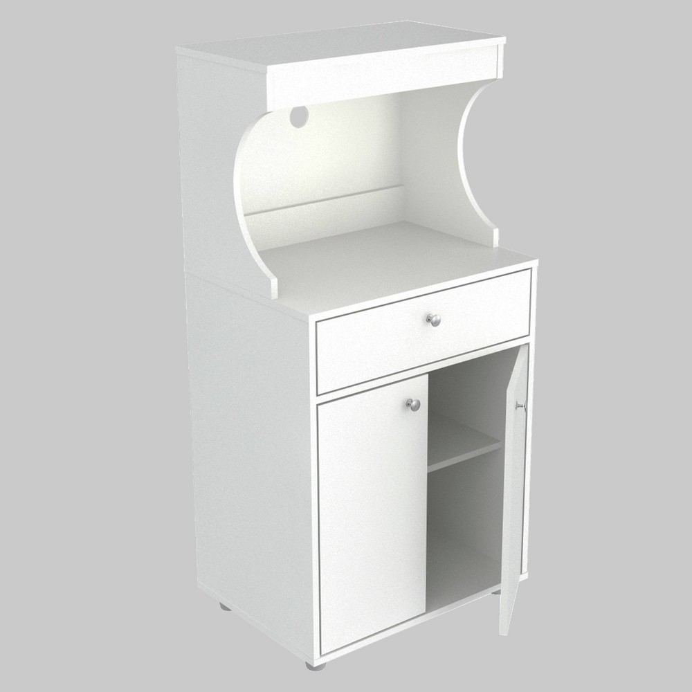 Image of 2 Door Kitchen/Microwave Storage Cabinet with Casters White - Inval