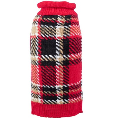 The Worthy Dog Plaid Roll Neck Pullover Sweater