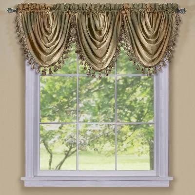 GoodGram Royal Ombre Curshed Semi Sheer 3 Pack Tassled Window Curtain Valances