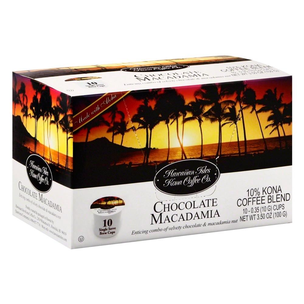 Hawaiian Isles Kona Chocolate Macadamia Medium Roast Coffee - Single Serve Pods - 10ct
