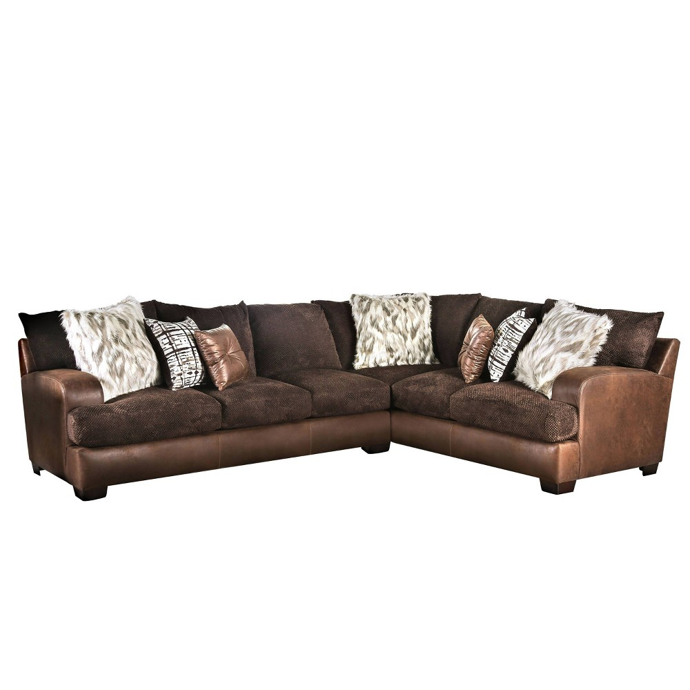 Image of Kalispell L Shaped Sectional Brown - miBasics